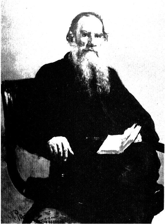 Фототипия портрета Толстого раб. И. Е. Репина — между XII и 1-й страницами.